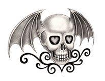 Art skull wings devil tattoo. Royalty Free Stock Images