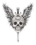 Art skull wings sword tattoo. Royalty Free Stock Images