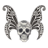 Art skull wings tattoo. Stock Photo