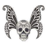 Art skull wings tattoo. Stock Photo