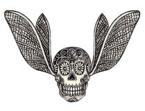 Art skull wings tattoo. Stock Image