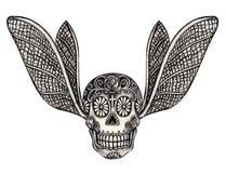 Art skull wings tattoo. Stock Image