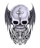 Art skull wings tattoo. Stock Photography