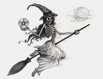 Art skull witch Halloween day. Royalty Free Stock Image
