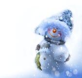 Art smiling snowman, blank page corner Royalty Free Stock Image
