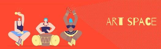 Art Space com músico tribal Flat Style Banner ilustração royalty free