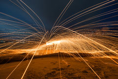 Art of spinning steel wool ,Absrtact light Stock Photography