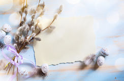 Art Spring flowers and easter eggs. Happy Easter Background Royalty Free Stock Photo