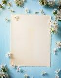 Art Spring gränsbakgrund med blomningen Royaltyfria Bilder