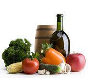Art Still life with vegetables and a bottle Royalty Free Stock Photo