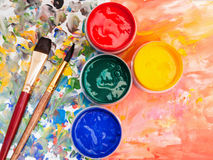 Art still life - watercolor palette, paint brushes Royalty Free Stock Images