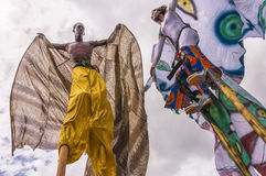 The art of stilt-walking at the Queen`s Park Savannah in Port-of-Spain III stock photography