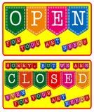 Art Store Open y muestra cerrada ilustración del vector