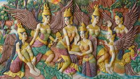 Art stucco from Thai mythology hang on wall. royalty free stock photography