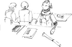 Art students. Students are in an audience Vector Illustration
