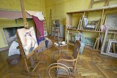 Art Studio av Auguste Renoir på hans hem, Les Colettes, Musee Renoir, Cagnes-sur-Mer, Frankrike royaltyfri bild