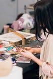 Art studio with creating dream catcher artisan Royalty Free Stock Photo