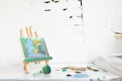 Art studio. Creative painter workplace Stock Images