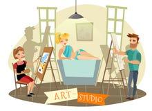 Art Studio Creative Process  Cartoon Illustration Royalty Free Stock Images