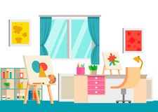 Art studio design interior, vector illustration. Art work space. With artist tools, easel, pencils, paints, palette and other Stock Image