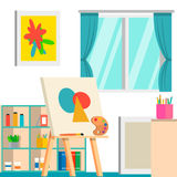 Art studio design interior, vector illustration. Art work space. With artist tools, easel, pencils, paints, palette and other Royalty Free Stock Photography