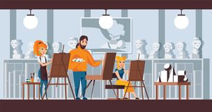 Art studio group scene. Vector horizontal illustration good for fine art courses, studio of watercolor and still life banners. Thr. Ee characters drawing Royalty Free Stock Photos