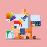 Art Studio-illustratiereeks Hulpmiddelen en Materialen voor Creativiteit en het Schilderen Vlakke vector Stock Afbeelding