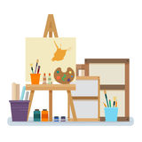 Art studio interior. Creative workshop room with canvas, paints, brushes, easel and pictures. Design salon for artists. Flat style vector illustration Royalty Free Stock Photos