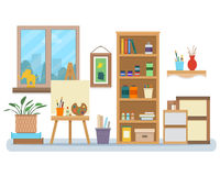 Art studio interior. Creative workshop room with canvas, paints, brushes, easel and pictures. Design salon for artists. Flat style vector illustration Stock Image