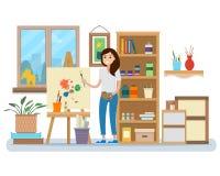 Art studio interior. Woman artist drawing. Stock Photography