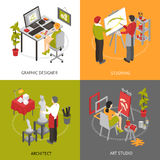 Art Studio Isometric 2x2 Icons Set. Architect graphic designer and painters working in art studio isometric 2x2 icons set  vector illustration Royalty Free Stock Photo