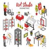 Art Studio Isometric Set Image stock