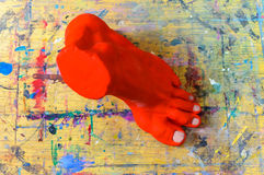 Art studio model clay foot Stock Photo
