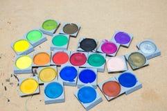Art studio paints. Art paint palette with paints Royalty Free Stock Photo