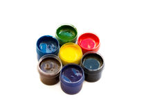 Art studio paints, palette. Gouache,craft, art, paint, kid, child, workshop, design, school, set, bright,  green, creativeness, yellow, color, paper, education Royalty Free Stock Images