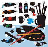 Art Stuff Colour Silhouettes Royalty Free Stock Image