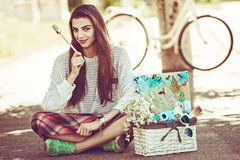 Art Stylish Hipster Woman Keep Brush Outdoor Royalty Free Stock Image