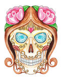 Art Sugar skull day of the dead. Royalty Free Stock Photo