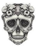 Art Sugar Skull Day of the dead. Hand pencil drawing on paper. Stock Photo