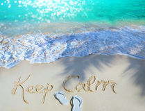 Art Summer concept of sandy beach, Keep calm motivational Stock Photo
