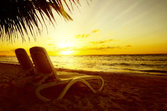 Art Sunrise-Ansicht am Erholungsort Lizenzfreie Stockbilder