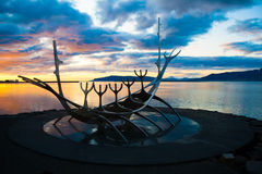 Art. Sunset at Reykjavik Iceland with a view on art monument Royalty Free Stock Image