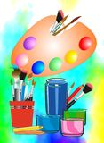 Art supplies. Variety of art supplies paint brushes Stock Photo