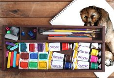 Art Supplies and Bear Drawing Royalty Free Stock Image