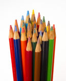 Art Supplies Color Pencils in A Group on White Royalty Free Stock Images