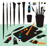 Art Supplies Colour Silhouettes Royalty Free Stock Photography