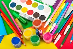 Art supplies for creative work  for children. View from above Stock Image