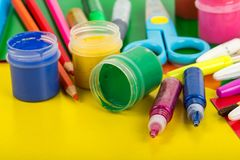 Art supplies for creative work Royalty Free Stock Photos