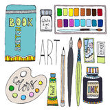 Art supplies for drawing. Cartoon vector set with paints, palette, sketchbook and other materials Stock Images