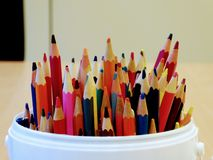Colorful pencils. Drawing supplies. stock photography